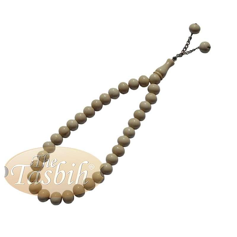 Cream Monomer 33-Bead Tasbih with 2 Bead Chain Tassel