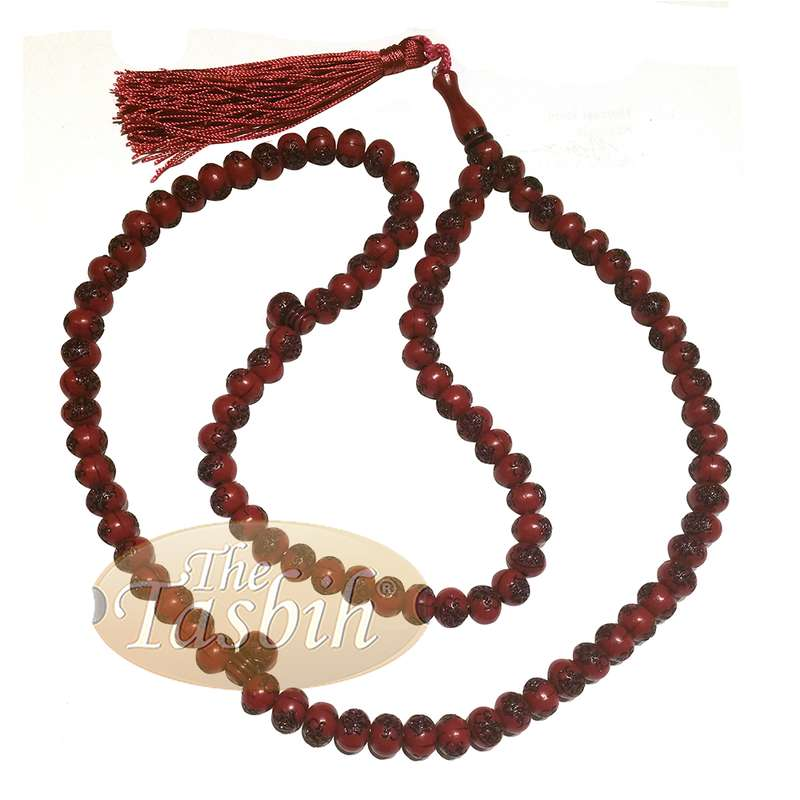 Basmallah Dark Red Plastic Tasbih 8mm Prayer Beads Bismillahirrahmanirrahim on Each Bead