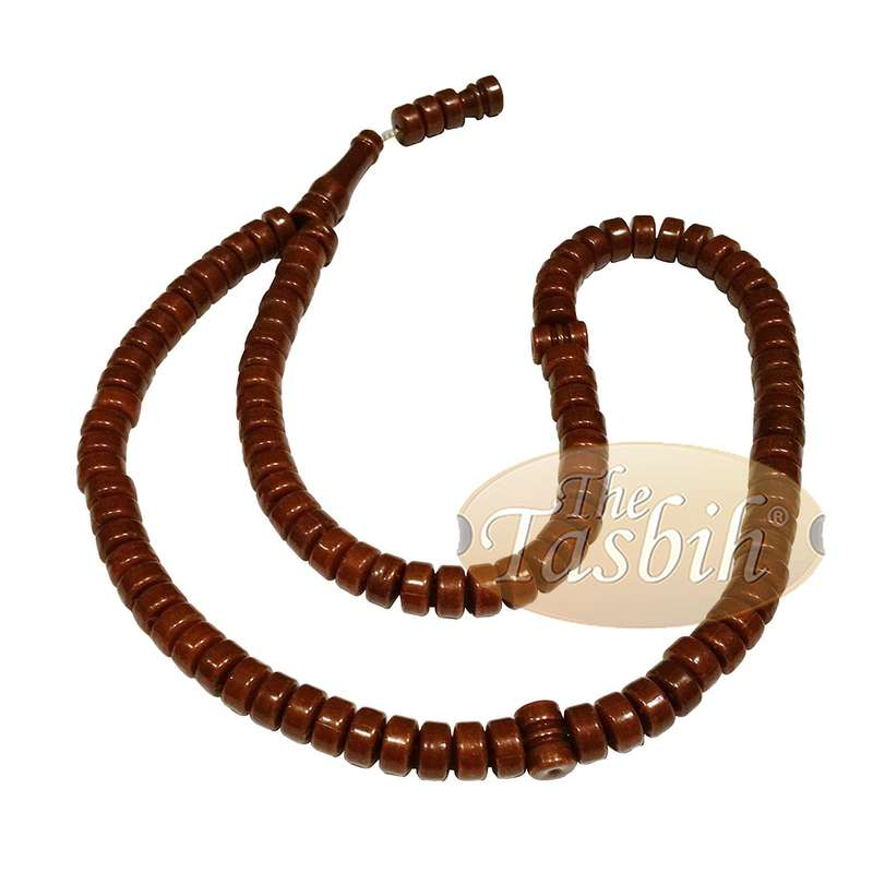 Small Dark Brown Plastic Tasbih with 6x5mm Disc-shaped Beads - Sturdy Muslim Rosary Dhikr Zikr Prayer
