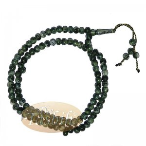 Marble Green 7mm Plastic With Silver Allah Muhammad Prayer Beads