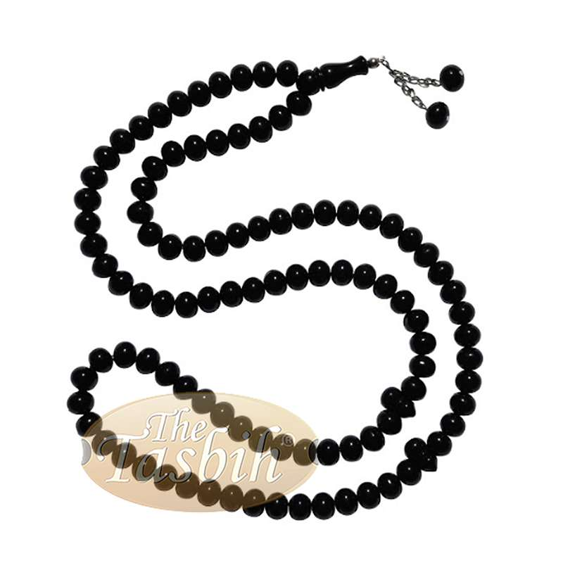 Large 12x9.5mm Black Monomer Muslim Tasbih Prayer 99-Beads Chain Tassel