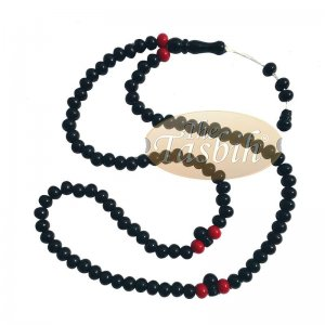 Small Black Plastic Muslim Tasbih 6x7mm Beads With Red Accent Beads