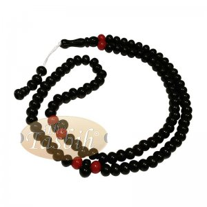 Med-size Black Plastic Sufi Tasbih 6x8mm Beads With Red Accent Beads