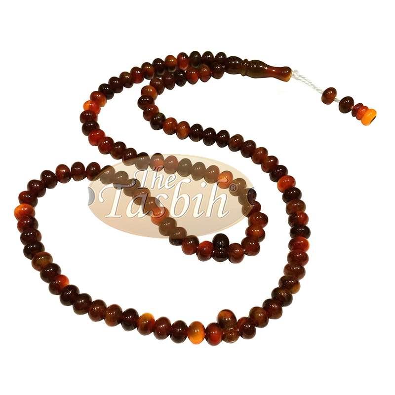 Small Marble Maroon Yellow Plastic Tasbih 6x5mm Zikr Prayer Beads