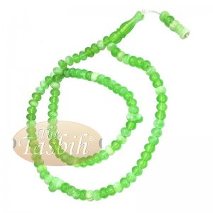 Small Marble Green Yellow Plastic Tasbih 6x5mm Muslim Prayer Beads