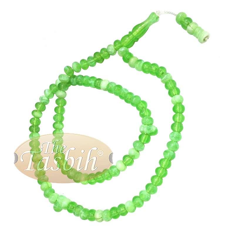Small Marble Green Yellow Plastic Tasbih 6x5mm Muslim Prayer Beads