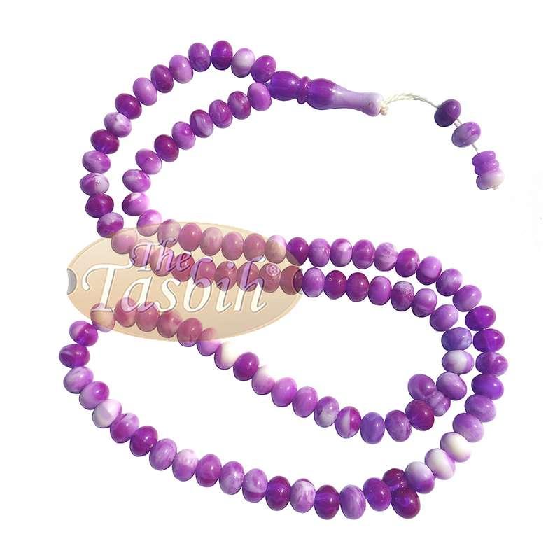 Small Marble Purple Yellow Plastic Tasbih 6x5mm Zikir Prayer Beads