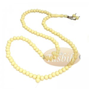 Cream Med-size 7x8mm-bead Monomer Islamic Prayer Bead Tasbih 2-chain