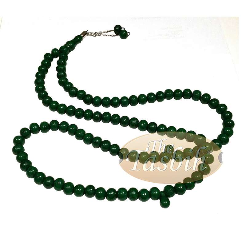 Dark Green Med-size 7x8mm-bead Monomer Prayer Bead Tasbih 2-chain