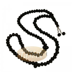 Black Med-size 7x8mm-bead Monomer Islamic Prayer Bead Tasbih 2-chain