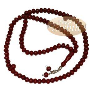 Maroon Med-size 7x8mm-bead Monomer Islamic Prayer Bead Tasbih 2-chain