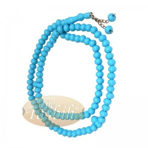 Sky Blue Med-size 7x8mm-bead Monomer Islamic Prayer Bead Tasbih 2-chain