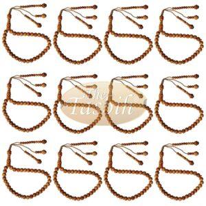 12 Naturally Scented 33-bead Pine Wood Prayer Beads 8mm Tasbihs