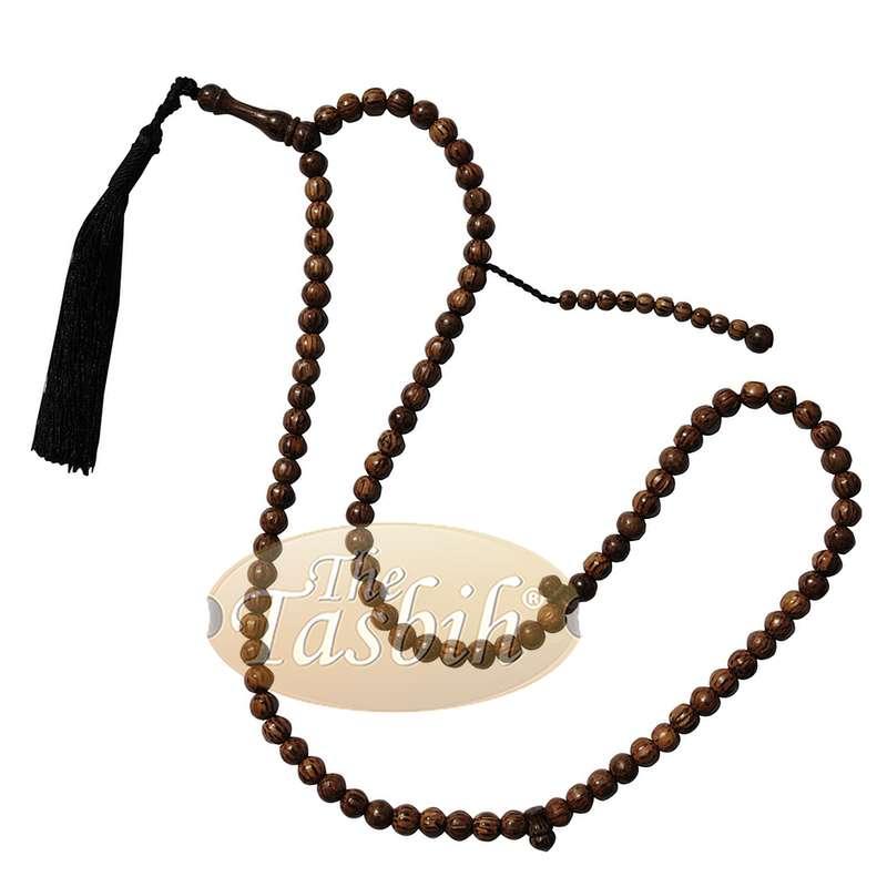 12 Beautiful 8mm Exotic Sugar Palm Wood Tasbih Prayer Beads with Black Tassels