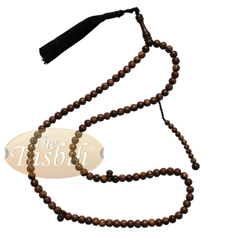 Beautiful 8mm Exotic Sugar Palm Wood Tasbih Prayer Beads with Black Tassel