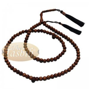 Naturally-dyed 8mm Ironwood Prayer Beads 99-bead Copper Wire Tassel