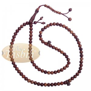 Handcrafted Natural Color 8mm 99-Bead Stigi Ironwood Tasbih Prayer Beads With Bead Stops
