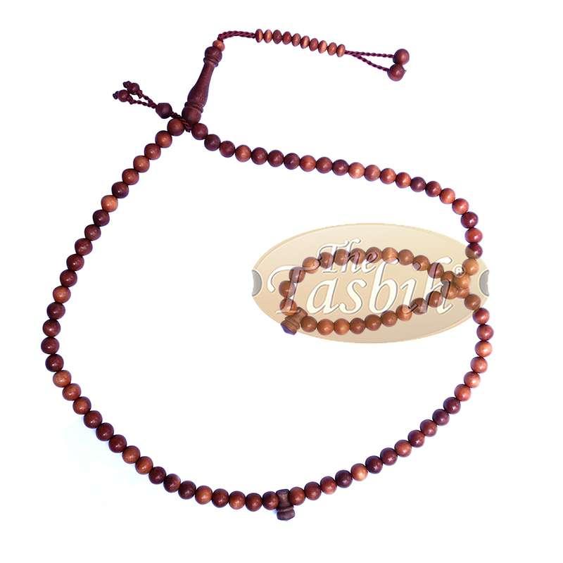 Handcrafted Natural Color 8mm 99-Bead Stigi Ironwood Tasbih Prayer Beads with Bead Stops