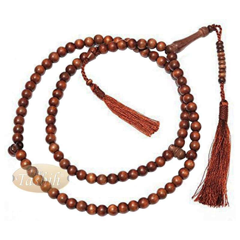 Naturally-Dyed Ironwood 8mm Muslim Tasbih Prayer Beads 99-Bead with Matching Brown Tassels