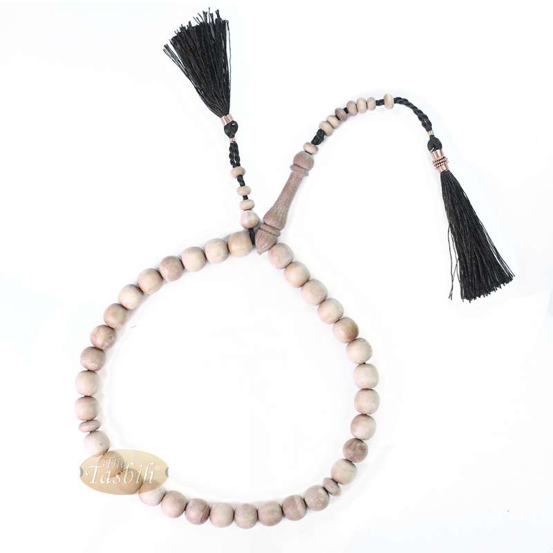 Sandalwood Prayer Beads 10mm Muslim Rosary 33-Bead with Black Copper-decorated Tassels