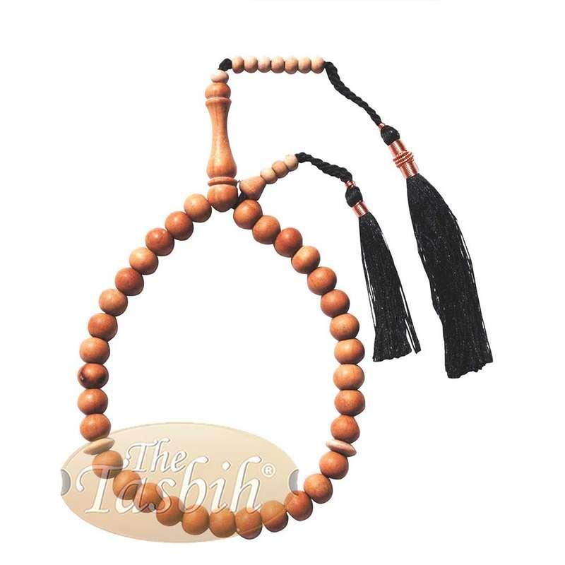 Small 8mm 33-Bead Muslim Sandalwood Tasbih with Black Copper-decorated Tassels