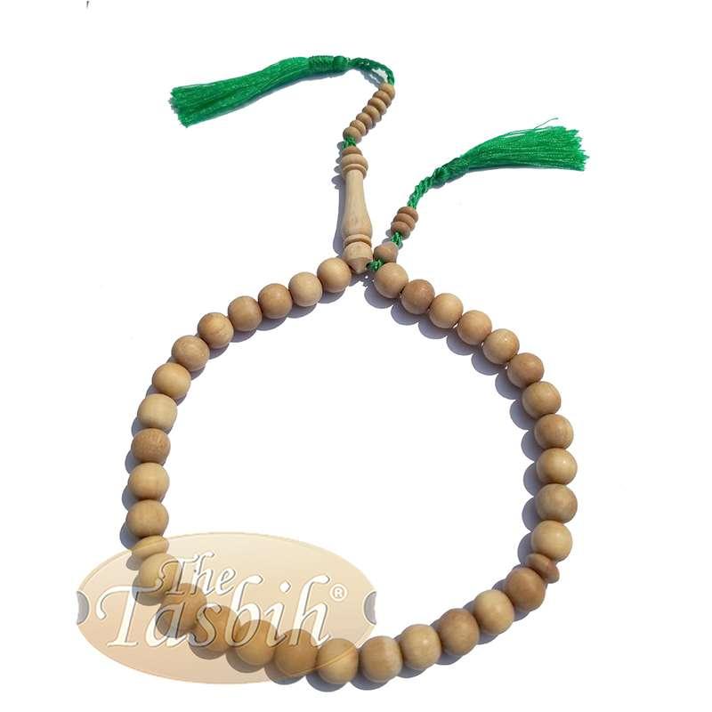 Sandalwood 33-bead Tasbih Muslim Prayer Beads 10mm with 2 Green Copper Tassels