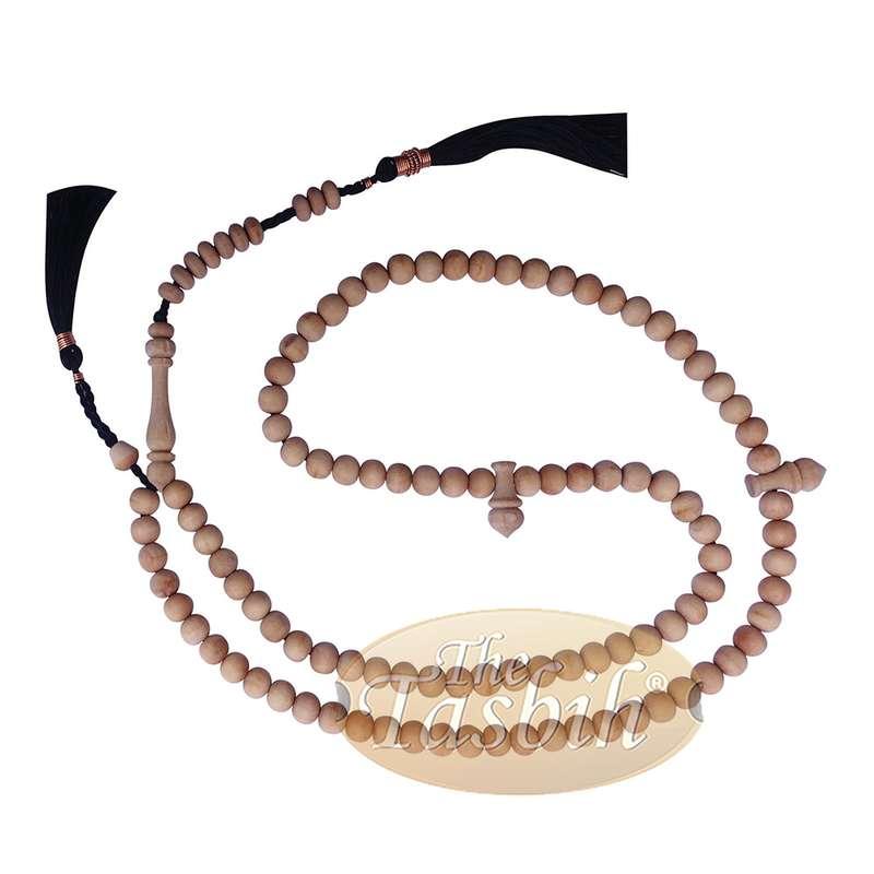 Sandalwood 7mm Islamic 99-bead Tasbih Sibha Prayer Beads with Black Tassels