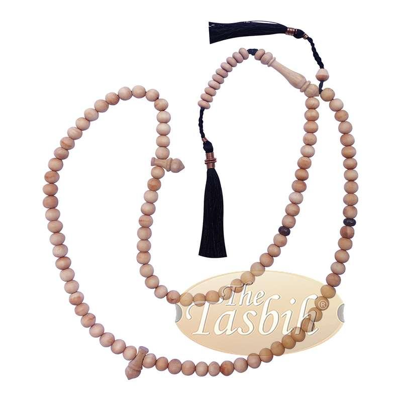 Sandalwood 7mm Tasbih Misbaha Prayer Beads Sibha with 11-bead Marker & Black Tassels