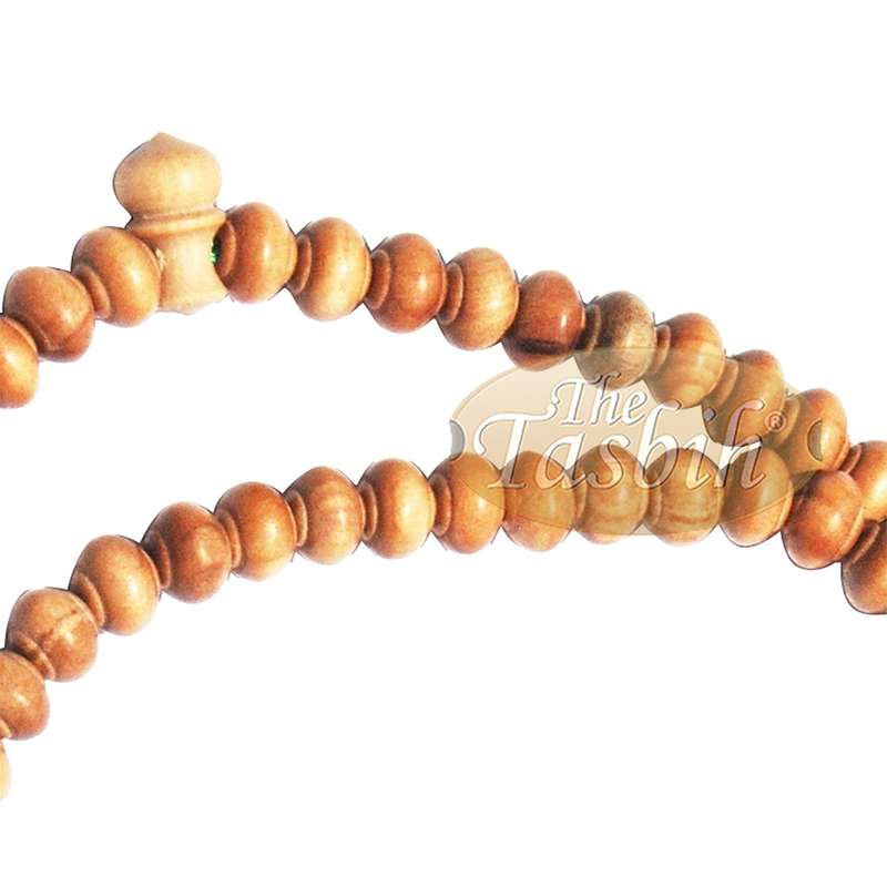 Sandalwood Prayer beads - 7mm- Contoured beads Sandalwood Tasbih Prayer Beads with Green Tassels