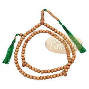 Sandalwood 8mm Round Beads 99 Count Tasbih For Zikr Prayer Green Tassels