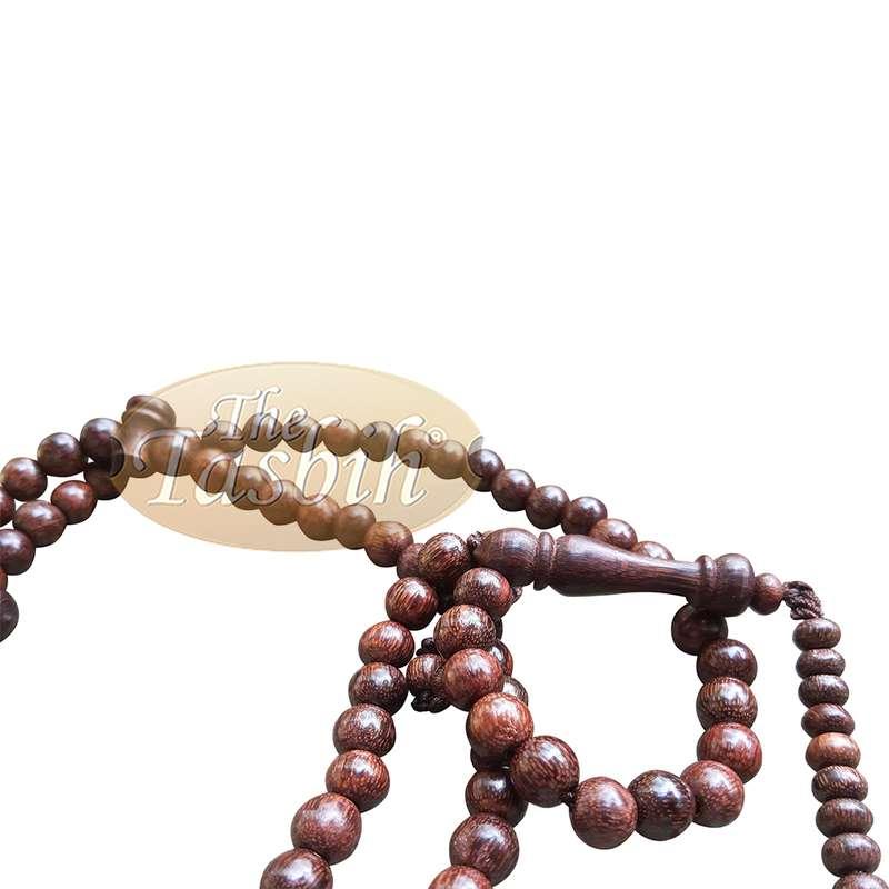 Tamarind 6mm Dense Wood Muslim Rosary Tasbih 99-beads & Counters