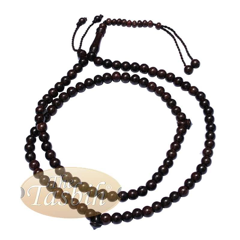 Lot of 12 -8mm-Bead Dense Tamarind Wood Muslim Rosary Tasbih with 99-beads & Counters