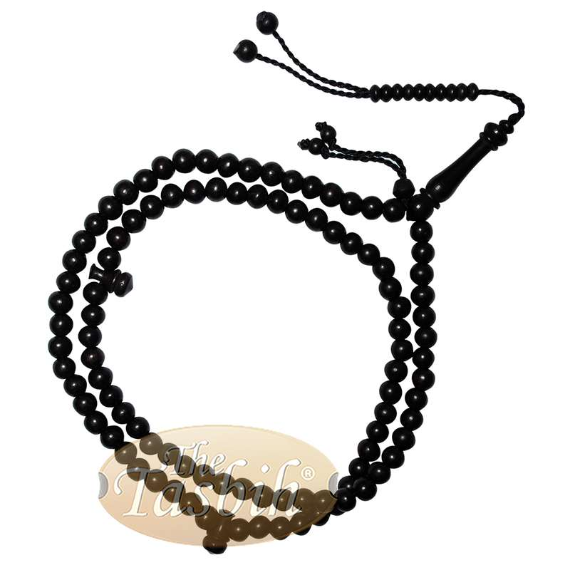 Muslim Prayer Beads Tasbih Necklace - Handcrafted Dyed Tamarind Wood 99-beads with Wood Stops