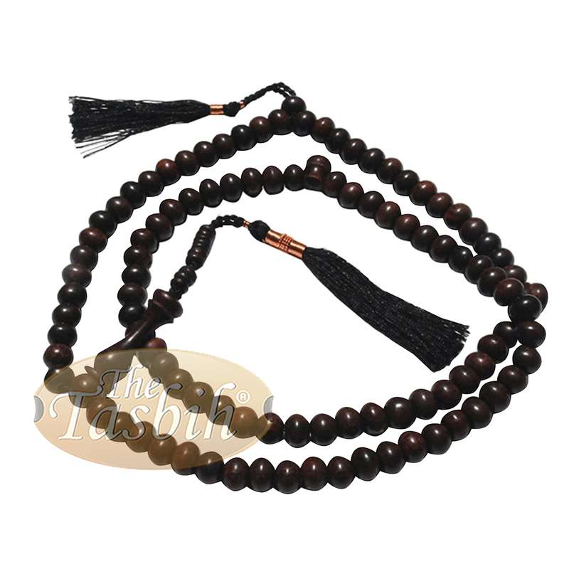 Natural Tamarind Wood Tasbih Prayer Beads 8mm 99-bead with Copper Decorated Black Tassels