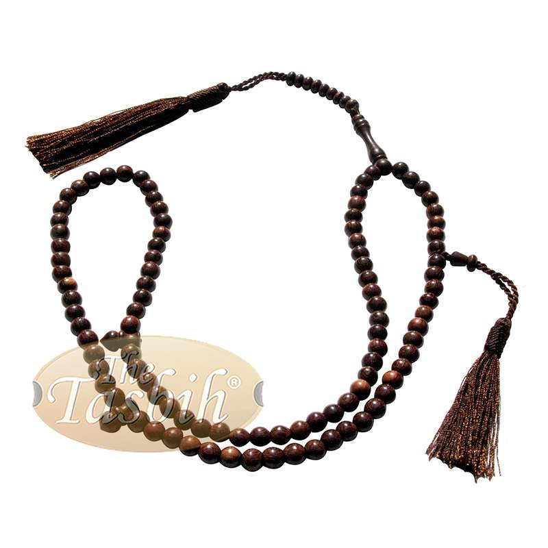 Dense Tamarind Tree Tasbih - Small 6mm 99-Bead Prayer Beads - Worry Beads with 2 Beautiful Tassels