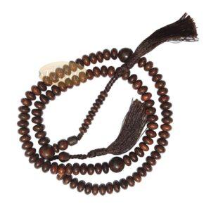 Flat Oval 6x9mm Tamarind Tasbih 99 Beads With Brown Tassels