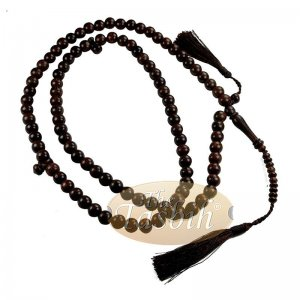 Exotic Tamarind Wood Large 10-mm Muslim Tasbih Sibha With Matching Dark Brown Tassels