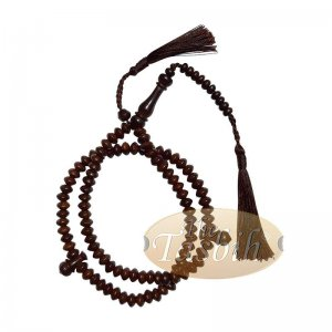 Saucer-shaped 5.5x8mm Tamarind Wood Muslim Prayer Beads Tasbih Rosary