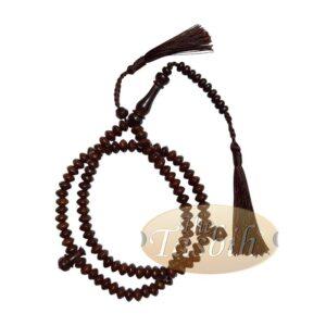 Saucer-shaped 5.5x8mm Tamarind Wood Muslim Prayer Beads Tasbih Rosary