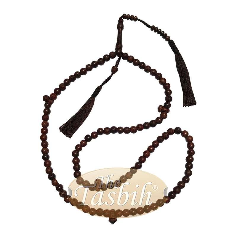 8mm Dark Brown Tamarind Tijani Tasbih Dhikr Beads Matching Tassels