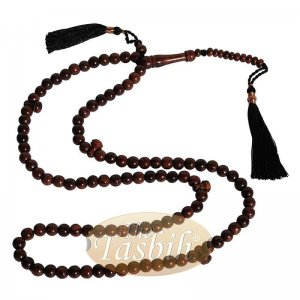 Dark Brown Tamarind Wood Tijani Tariqah Tasbih Coppered Black Tassel