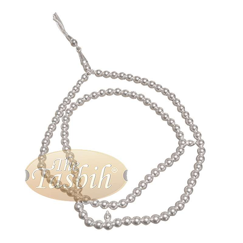 Small 6mm Sterling Silver Prayer Beads - 99 Round Beads with 2 Dividers and Decorative Tassel
