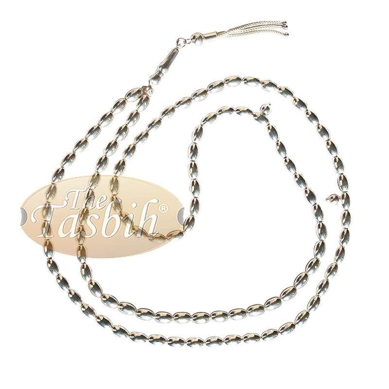 Sterling Silver 5mm Prayer Beads 99 Plain Oval Beads with 2 Dividers