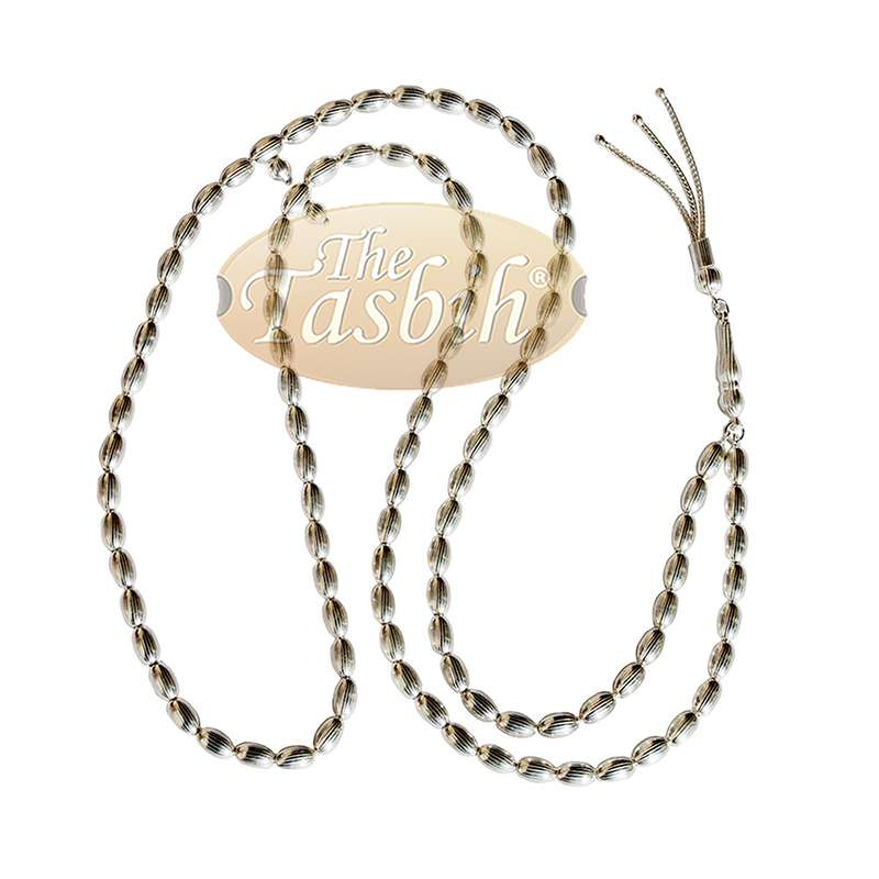 Small 5mm Sterling Silver Prayer Beads - 99 Rigid Elongated Oval Beads with 2 Dividers and Decorative Tassel