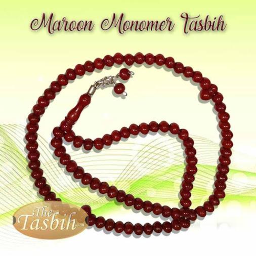 Medium-size Maroon Monomer Tasbih from Turkey with 2-chain Ornament