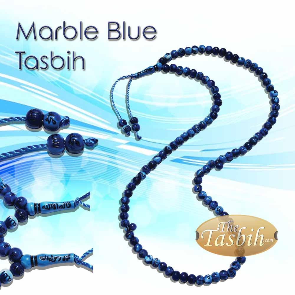 Marble Blue Allah Muhammad Inscribed Tasbih Prayer Beads