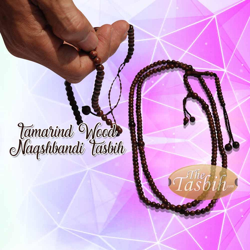 Handcrafted Solid Exotic Dense Tamarind Wood Naqshibandi Tasbih