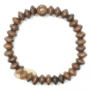 Johar Saucer-shape Wood 33-bead Elastic String 6mm Prayer Bead Bracelet