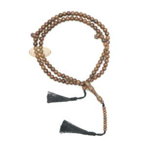 Wooden Islamic Prayer Beads – Natural Johar Tasbih 99ct Round 8mm Beads With Black Tassels