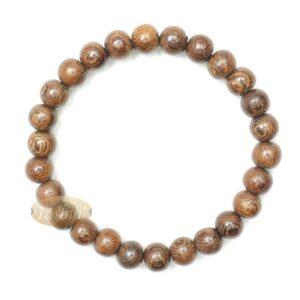 Wood Bead Bracelet – Tropical Johar Asian Wenge Beads With Black Elastic 7mm Unisex 7.5-8 Inch Prayer Bracelet